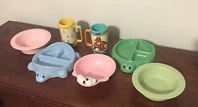 Vintage Lot Baby Feeding Dishes & Cups Snoopy Pooh Tigger Turtles PB Kids