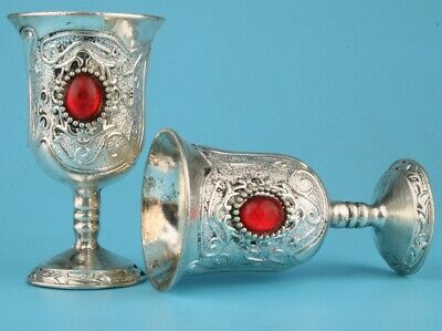 2 Unique China Tibetan Silver Ruby Hand-Carved Cup Gift High-End Collection Old
