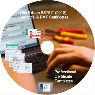 Electrical Certificates BS7671 2018 18th Edition & PAT Testing Forms