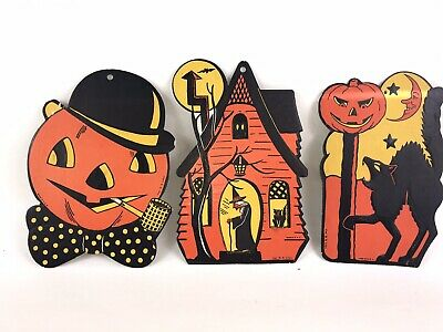 Vtg 50s Halloween Die Cut Lot Of 3 Black Cats Howling 1