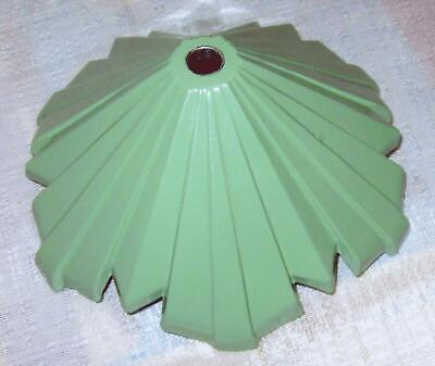 """Art deco cast metal 6"""" pyramid lamp base in baked on gloss green USA"""