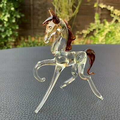 VTG Italian Murano Art Glass Miniature Animal Figurine Horse Mustang 4 3/8""
