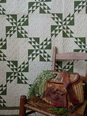 Gorgeous! c1880 Antique Overdyed Green And White QUILT Such Great Quilting!