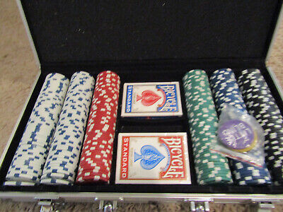 Set Of Poker Chip 1000 Chips Cards 11.5 Gram Aluminum Case Gamble Table Game