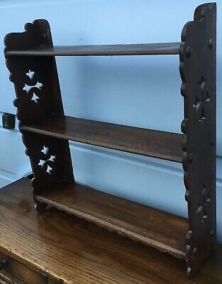 Antique Stained Wooden Wall Hanging Gothic Church Bookshelves Shelves