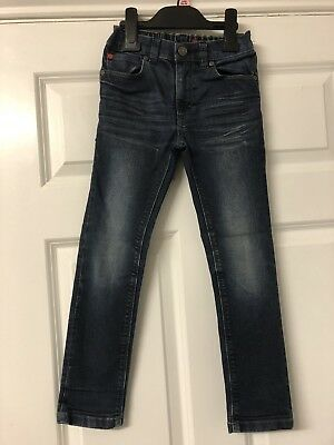 Boys Next Skinny Jeans Age 6 Dark Blue Washed Worn Look
