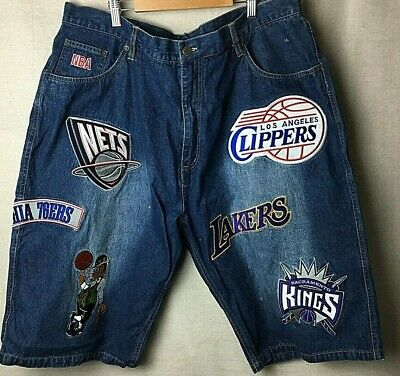 NBA Edition Blue Denim Basketball Shorts with team logos / Size 40 / Lakers