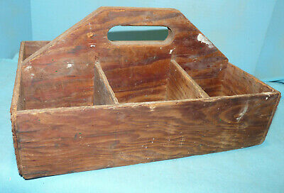 Wooden Antique Primitive Divided Tote Tool/ Garden Old Nailed Carrier