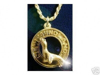 LOOK 24k Gold Plated over Sterling SILVER 925 Newfoundland Canada pendant charm