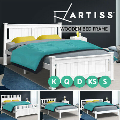 Artiss Bed Frame Wooden Bed Single Double Full Queen King Size Base Frame Timber