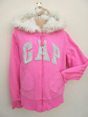 Gap - Girls Bright Pink Thick Fur Fabric Lined Hooded Jacket / Top - size 8-9 yr