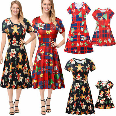 Xmas Matching Women Girl Mother Daughter Christmas Dress Family Costume Set
