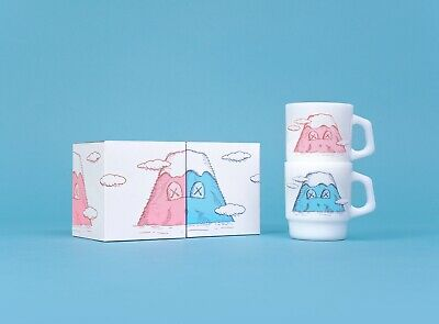 KAWS - HOLIDAY JAPAN Mount Fuji Fire-King Mug Set (Set of 2) - Brand New