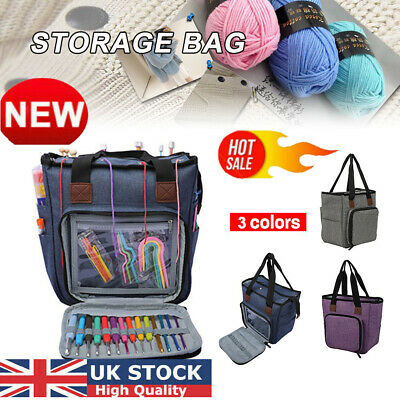 UK Large Knitting Tote Bag Crocheting Organizer Holder Storage Yarn Craft Case M