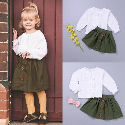 Toddler Baby Girl Autumn Winter Clothes Set Shirt Tops + Mini Skirt Outfits