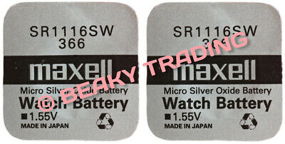 VALUE PACK! 2 x Genuine Maxell 366 SR1116SW Silver Oxide Watch Battery 1.55v