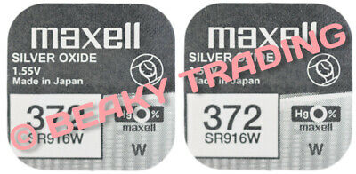 VALUE PACK! 2 x Genuine Maxell 372 SR916W Silver Oxide Watch Battery 1.55v