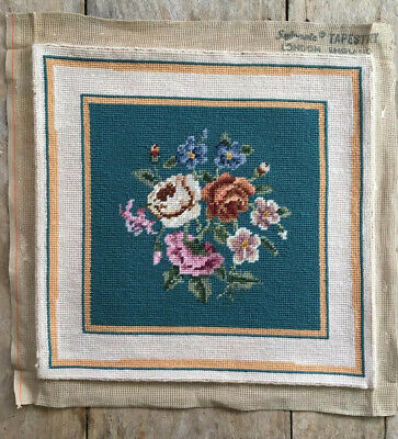 VINTAGE Retro Lovely Needlepoint  Floral Tapestry CUSHION Cover Picture Project