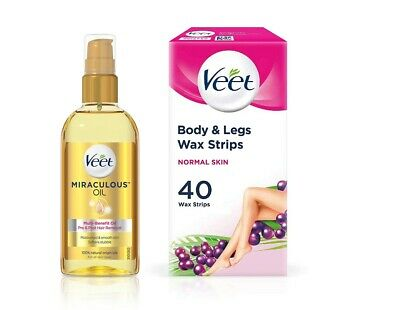 Veet Miraculous Multi-Benefit Oil 100ml + 40 Legs and Body Wax Strips