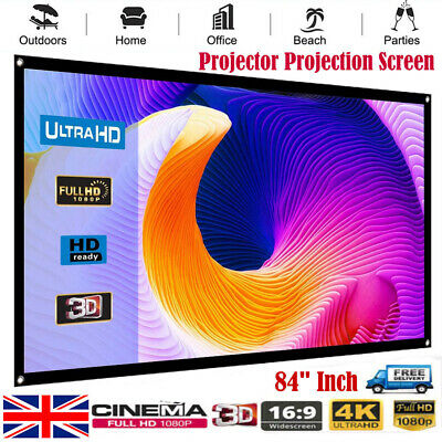 "84"" Inch Projector Projection Screen 16:9 White Matte 3D HD Home Cinema Theater"