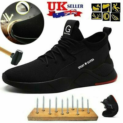 uUK Mens Safety Shoes Trainers Steel Toe Work Boots Sports Hiking Shoes Sneakers