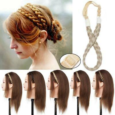 Real Human Feel Hair Band Plaited Plait Elastic Bohemia Braids Headband Blonde