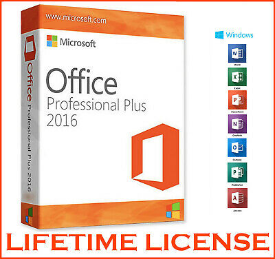 Microsoft Office 2016 Professional Plus - Product License Key Lifetime 32/64 Bit