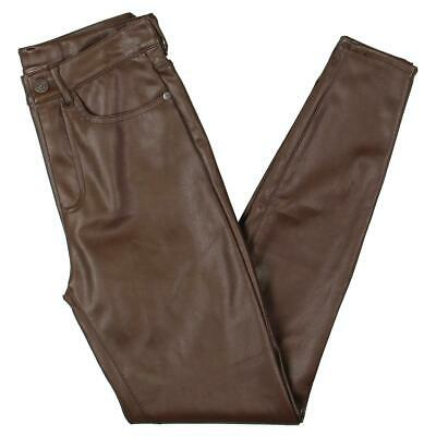 Free People Womens Vegan Leather High-Rise Slim Fit Skinny Pants BHFO 6883