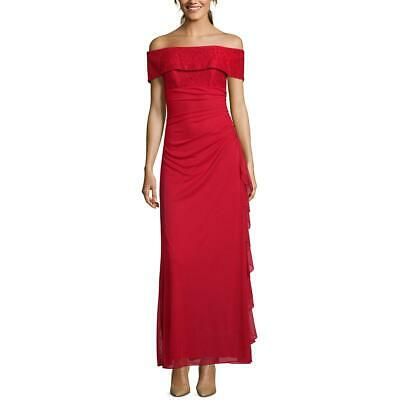 Betsy & Adam Womens Evening Lace Off-The-Shoulder Evening Dress Gown BHFO 7849
