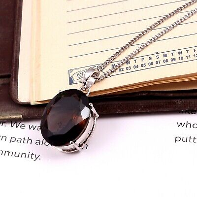 Natural Smoky Quartz Pendant Necklace Smokey Topaz Big Oval 925 Sterling Silver