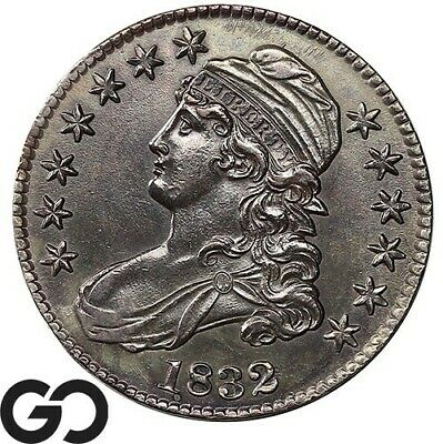 1832 Capped Bust Half Dollar, Deeply Toned, Super Sharp Silver Half