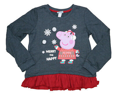 Peppa Pig Girls Layered Contrast Hem Merry & Happy 1-Piece Outfit 6X NWT