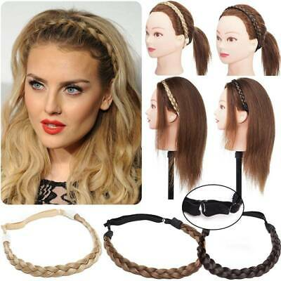 Lady Braided Synthetic Hair Plaited Plait Elastic Headband Adjustable Hairband