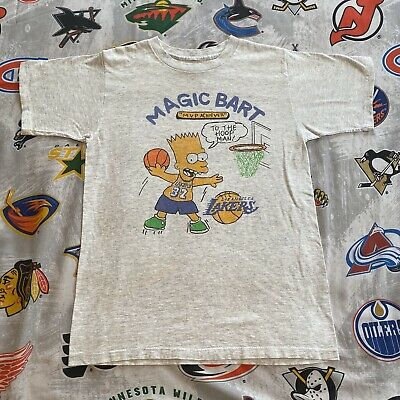 Bootleg Bart T-Shirt Simpson Basketball LA Lakers Simpsons Magic Johnson Large