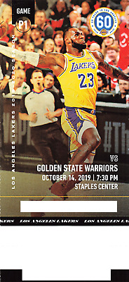 2019 LA Los Angeles Lakers vs Golden State Warriors NBA Collectible Ticket Stub