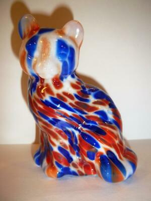 Fenton Glass Dave Fetty Red White & Blue Patriotic Hollow Blown Sitting Cat GSE!