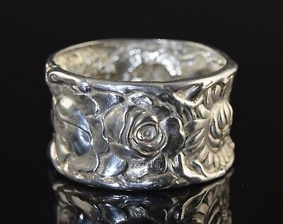 Antique Sterling Silver Napkin Ring Roses & Chrysanthemums Flowers