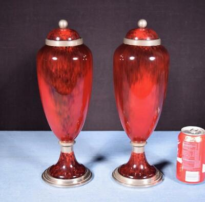 "*14"" Pair of Sevres Paul Milet Art Deco Red Porcelain Decorative Urns"