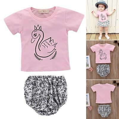 Kids Girls Outfit Clothes Swan T-shirt Baby Clothing Haren Floral Short Pants