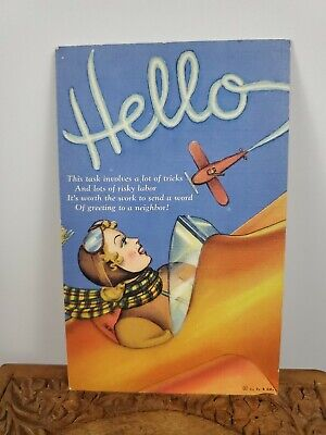 Vintage Postcard Women Flying Solo With a Second Plane Saying Hello Handpainted