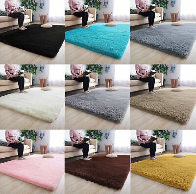 Fluffy Rugs Anti-Slip SHAGGY RUG Super Soft Carpet Mat Living Room Floor 2019**