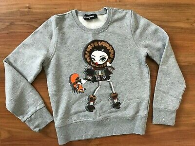 Girls AUTHENTIC Grey DSQUARED2 CHIC SWEATSHIRT Jumper (age7-8) *NICE COND*