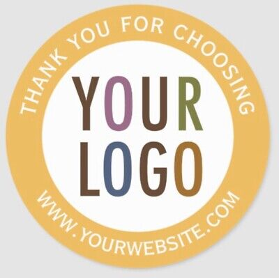 120 Personalised Stickers Business/Company Name Round Circle Labels Custom Logo