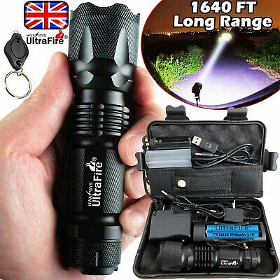 UK Ultrafire 350000LM Zoom Tactical T6 LED Flashlight Torch Work Light Headlamp