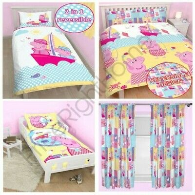 Peppa Pig Nautical Bedding & Curtains Range In Single, Double, Junior Kids New