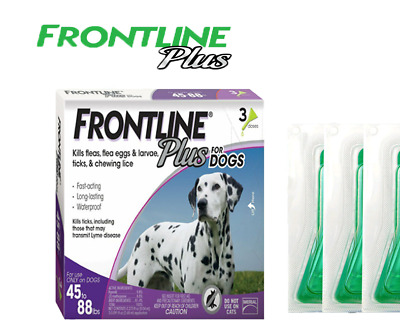 Merial Frontline Plus for Dogs 45-88 lbs 3 Doses Genuine USA