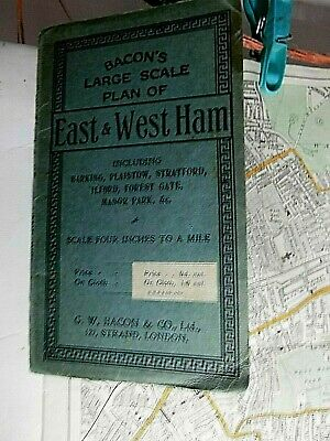 East Ham & West Ham C1900: G.bacon's Map In Covers: Bazalgette,Ltsr, Dockland