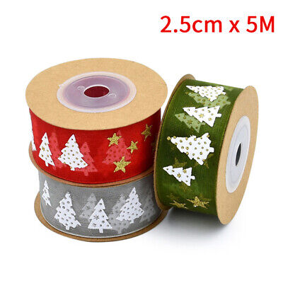 5m Roll Ribbon Happy Merry Christmas Tree Decoration Gift Wrapping 25MM Cartoon