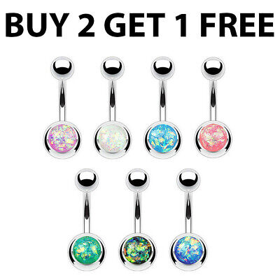 Opal Crystal Belly Bars Navel Button Bar Ring Body Piercing Dangle Jewellery