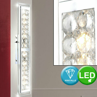12W LED Wand Lampe Touch Dimmer Chrom Kristalle Glas Leuchte Wohn Ess Zimmer Bad